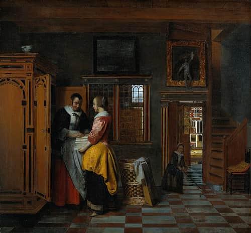 Çarşaf Dolabının Yanındaki Kadın / Pieter de Hooch
