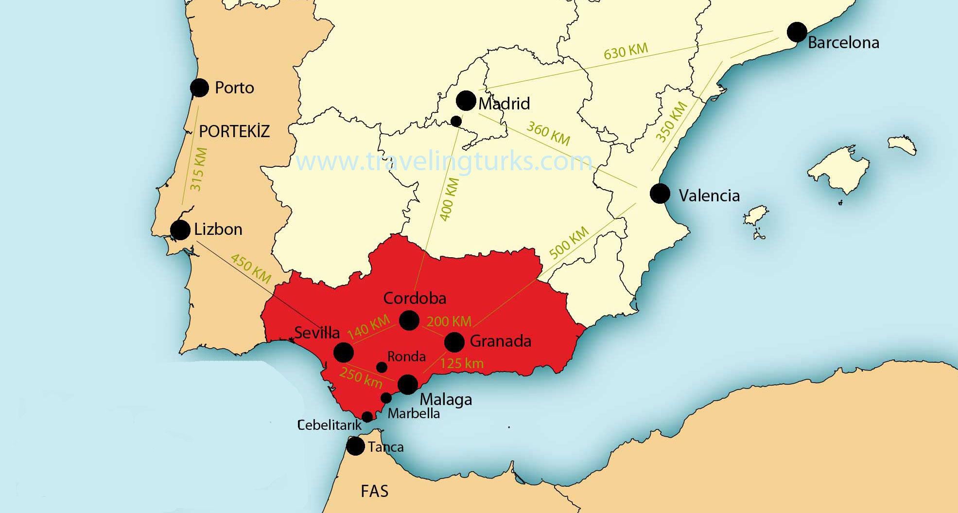 İspanyaya yapılan kombine turlar