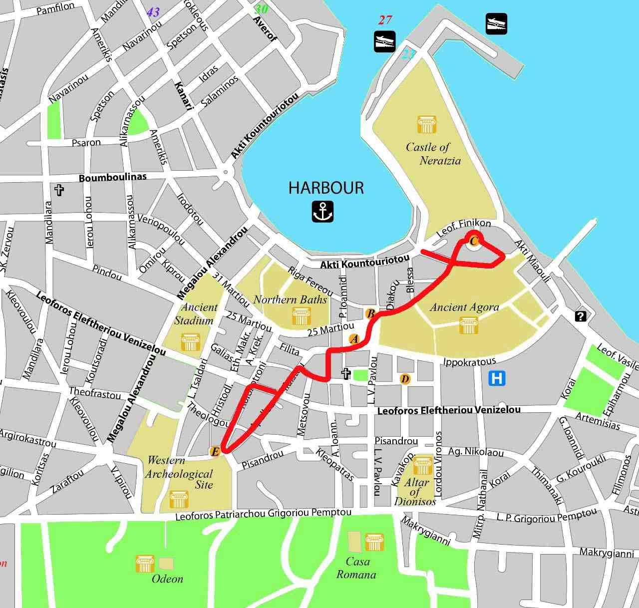 Kos şehri yürüyüş rotası