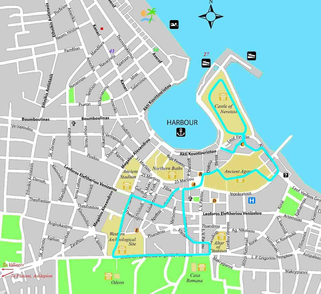 kos yürüyüş haritası