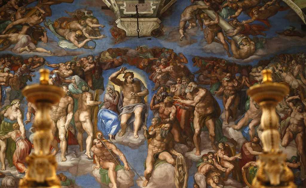 """""""El Juicio Final"""" un fresco de Michelangelo muy famosa y importante en Capilla Sixtina, Roma."""