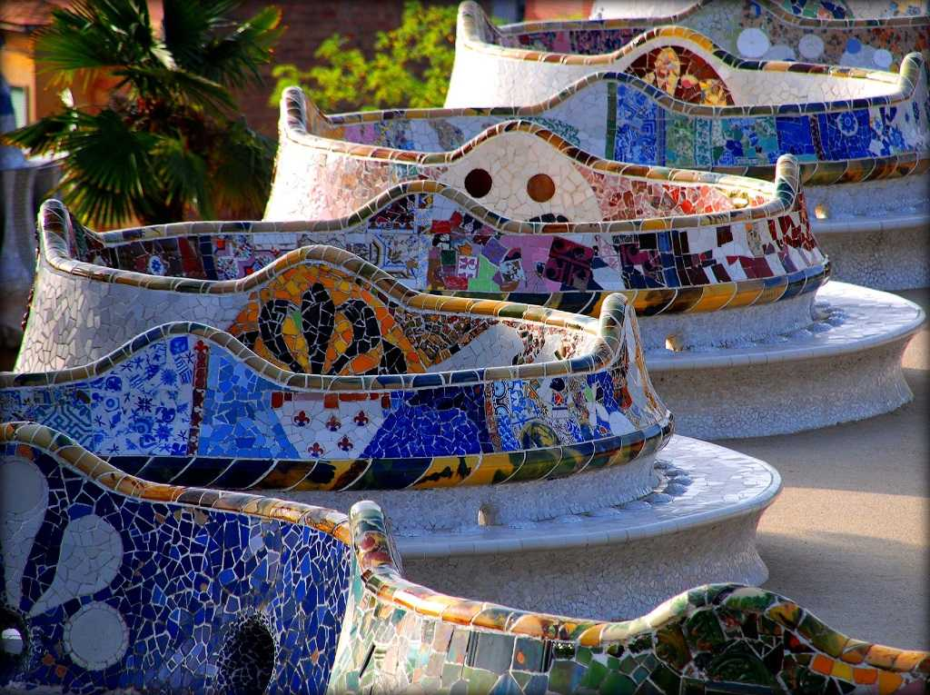 famous trencadis mosaic bench in Park Güell