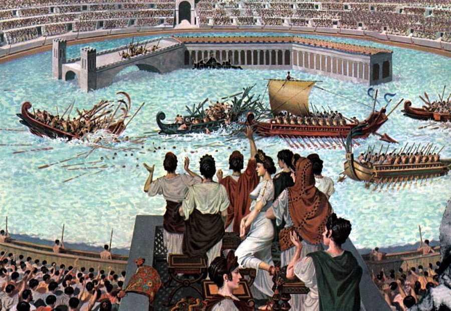 roma, kolezyum, deniz savaşları, gladyatörler