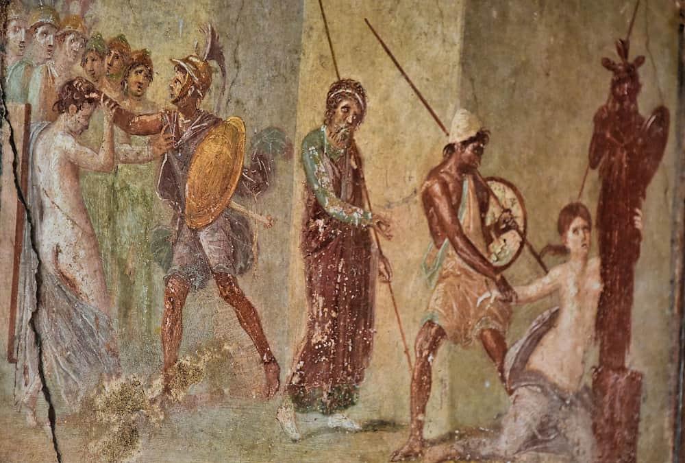 Las frescoes importantes en Pompeya; Casa Menander
