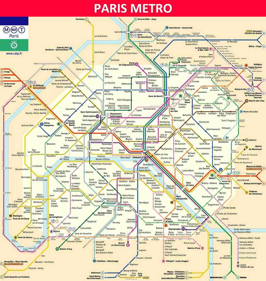 mapa metro de paris