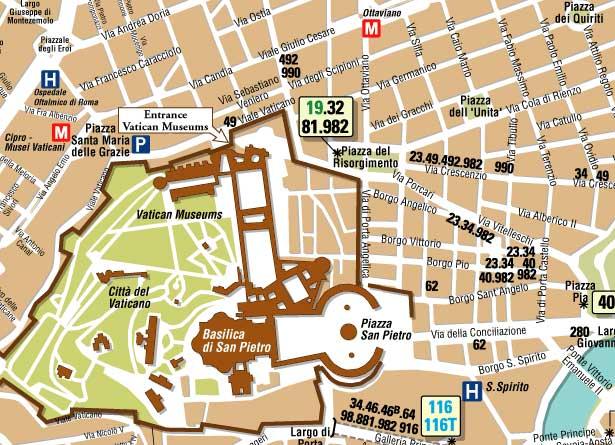 Vatikanstadtkarte, wie man mit der Metro fährt
