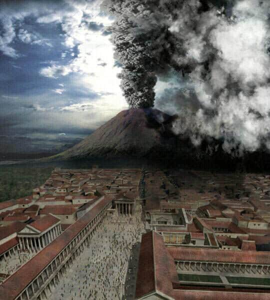 explotion of vesuvius mountain in pompeii