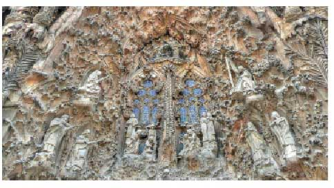 The reliefs Gaudi designed by his hands on Nativity Façade