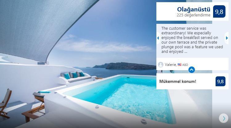 smekmånadshotell, kostymer, deluxvillor med pool på Santorini Island