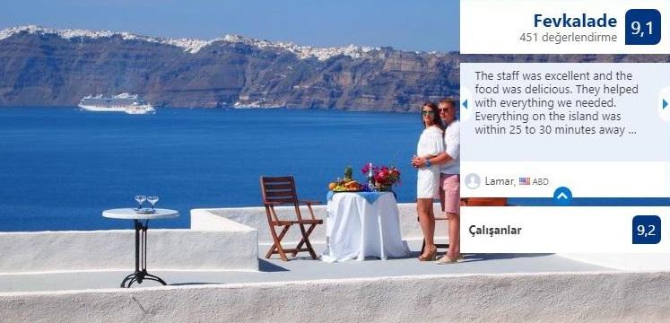 rekommenderad ekonomisk logi för smekmånad och romantiska par i Fira, Oia och centrum i Santorini
