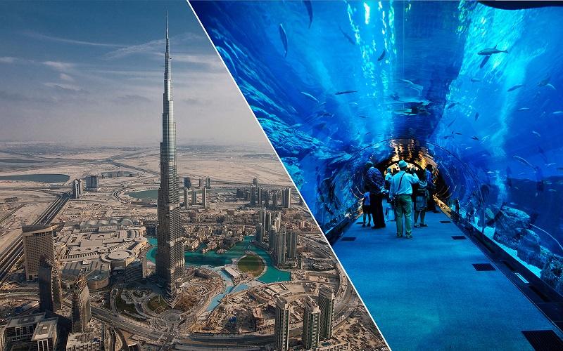 tiket masuk kombo untuk akuarium Dubai dan Burj Khalifa