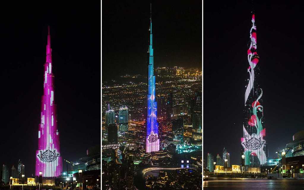 Burj Khalifa bei Nacht, Dubai, Vereinigte Arabische Emirate